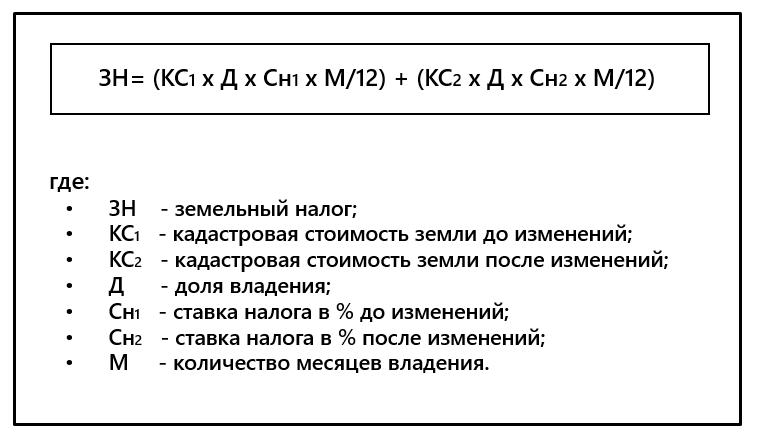 Формула для расчета по кадастровой стоимости